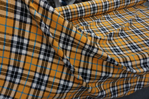 Saffron Summer Tartan, Linen Textured Cotton