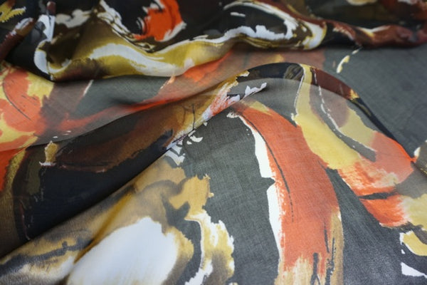 Abstract Koi Fish Print on Silk Chiffon