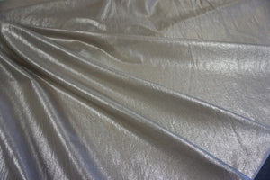 Silver Coated, Beige Silk and Cotton Voile