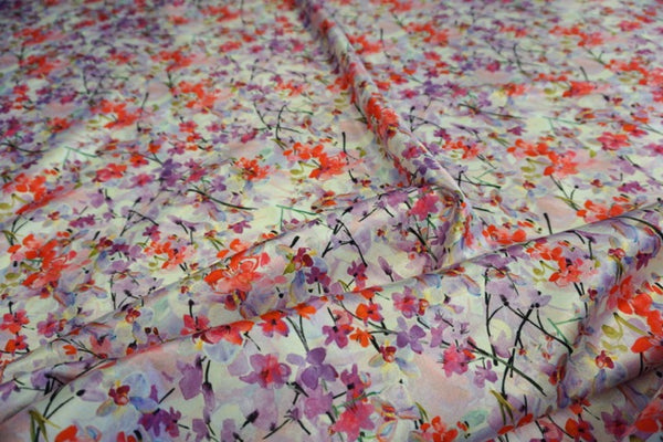 Pink Blossoms Print on Stretch Satin