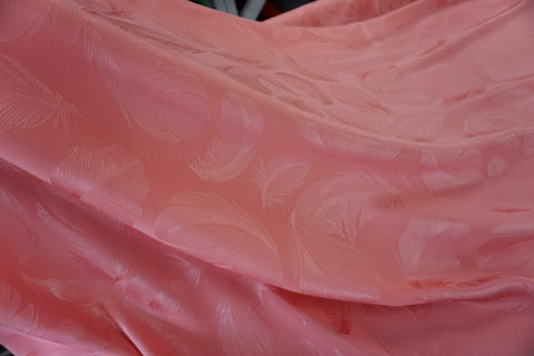 Satin Back Silk, Feather Jacquard in Apricot Pink