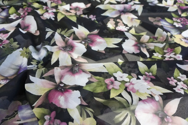 Midnight Orchid Print on Georgette