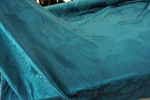 Reversible Satin Jacquard Tigers, Dark Teal