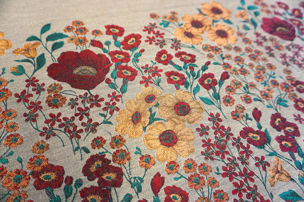 PANEL- Poppies and Daisies Beige Jacquard