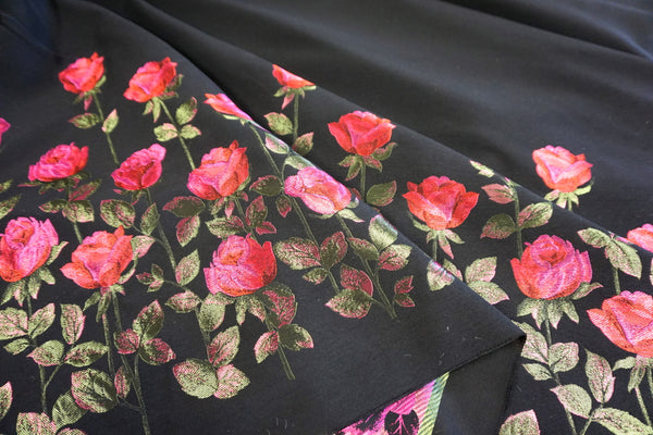 PANEL- Red Pink Roses Wool Blend Jacquard