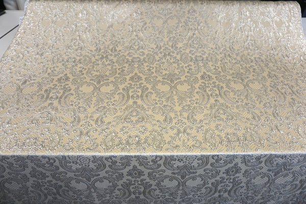 Regal Silver and Cream Jacquard