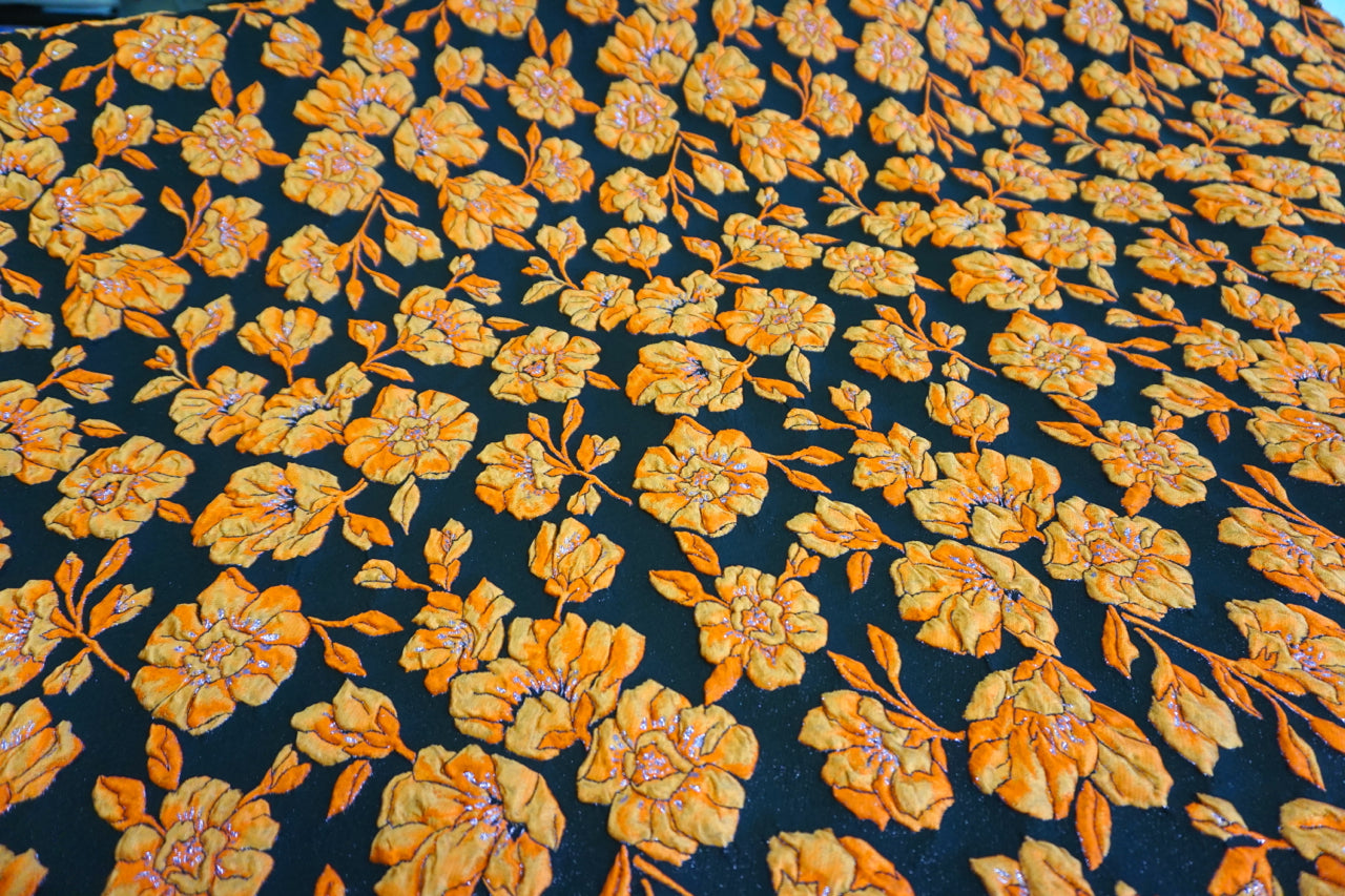Orange Rose Cloque Jacquard