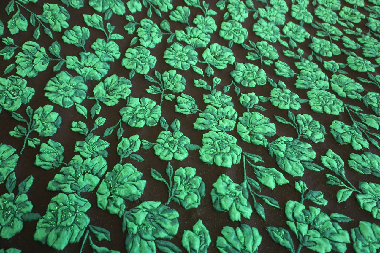 Emerald Rose Cloque Jacquard