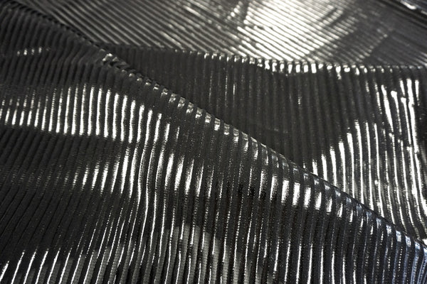 Shiny Stripe Print on Stretch Mesh, Jet Black