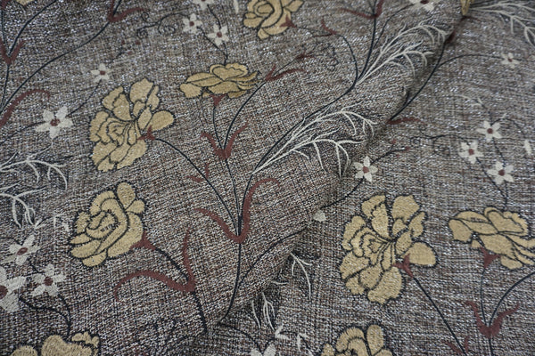 Beige Florals Embroidered on Tweed Suiting with Silver Lurex Thread
