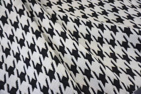 Reversible Gilded Houndstooth Wool Blend Jacquard