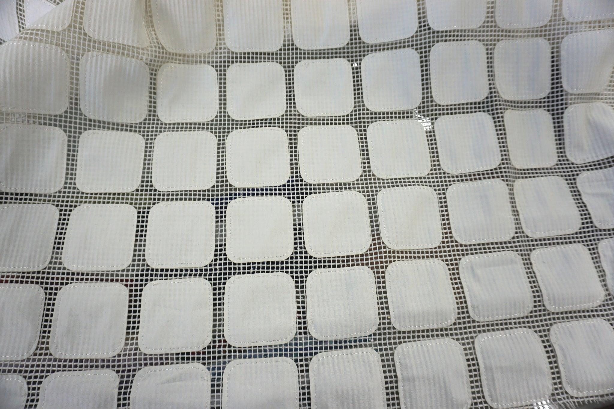 Off White Rounded Squares Appliquè on Mesh