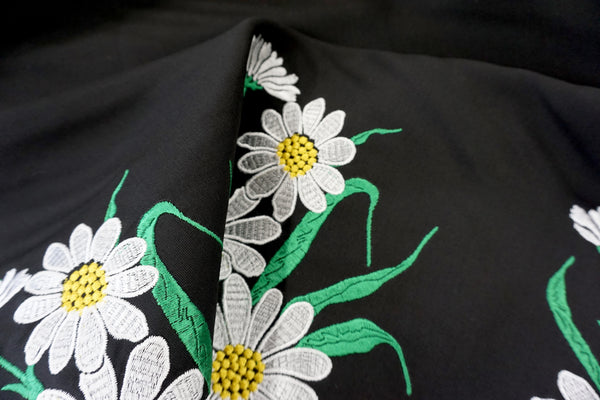 LAST PIECE: 1.55mt - D&G Embroidered Daisies Border on Silk Wool