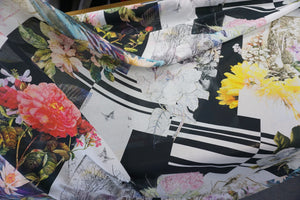 Water Lily Collage Print on Voile, Black
