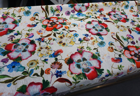 LAST PIECE: 0.9mt Watercolour Garden Print on White Jacquard