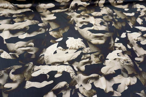 LAST PIECE: 0.7mt Camo Sculpture Print on Heavy Viscose Satin