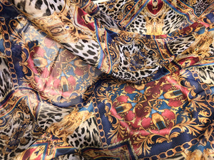 Ornate Leopard Print on Chiffon, Blue