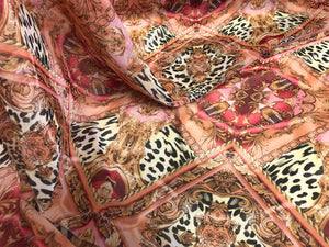 Ornate Leopard Print on Chiffon, Pink