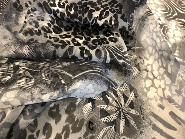 Floral & Wild Print on Silk Devore, Grey Tones