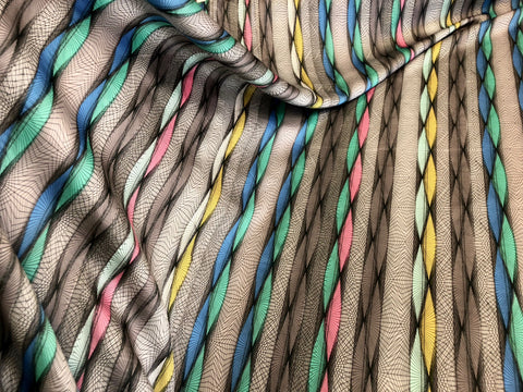 Optical Stripe Print on Stretch Satin