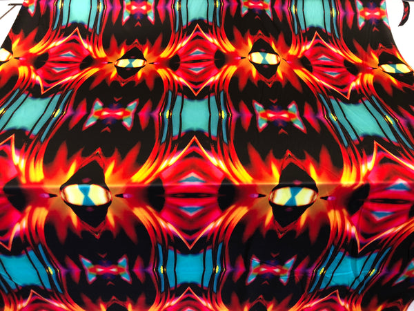 Blue Flame Mirror Print on Stretch Satin