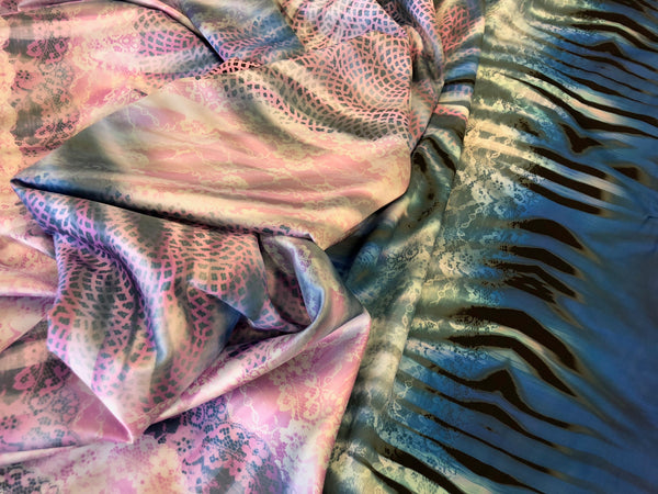 Wildly Laced Print on Stretch Satin