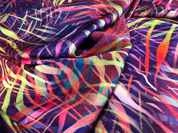 Neon Carnival Print on Stretch Satin