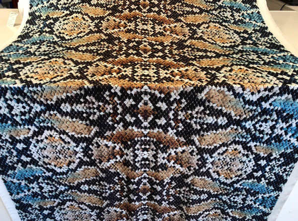 Python Mosaic Print on Stretch Satin