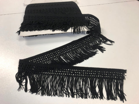 Black Intricate Macrame Fringe Trim
