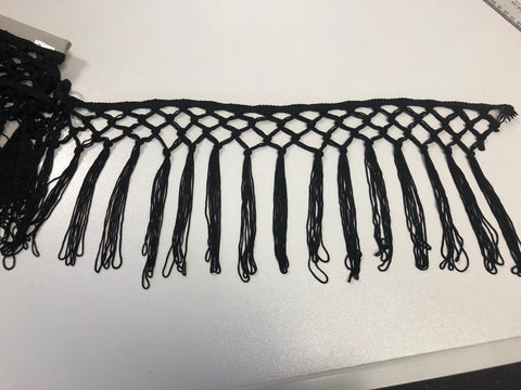 Black Finge Macrame Trim