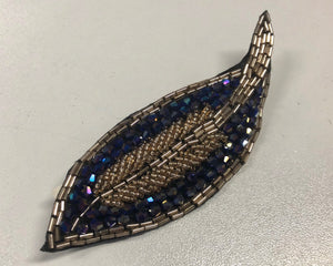 Embellished Crystal Leaf Brooch Motif, Navy