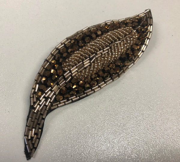 Embellished Bronze Crystal Leaf Brooch Motif