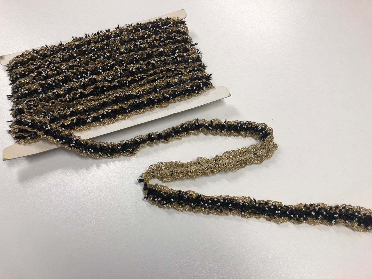French Hand Beaded Black & Gold Lace Trim