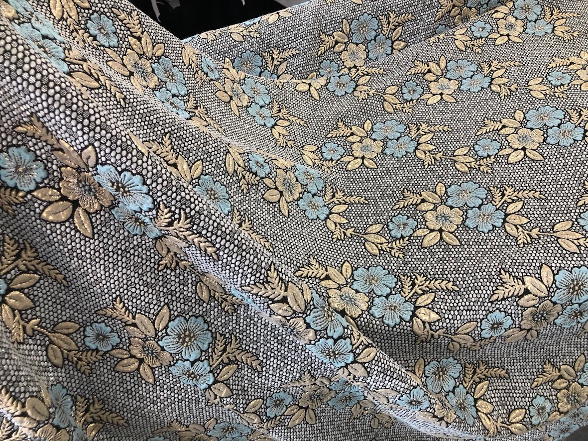 Baby Blue Flower Jacquard Suiting, Brocade