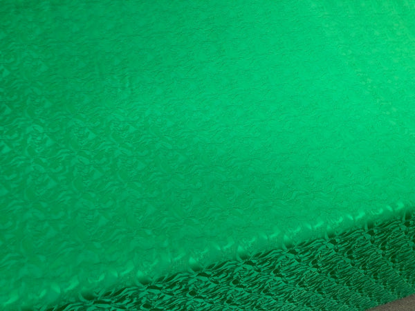 Emerald Green Leaf Motif Jacquard