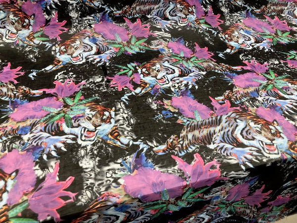 Virtual Tiger Print on Silk Blend Voile