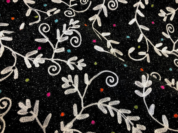 Embroidered Raw Peace Silk Tweed