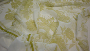 Green Lilies Printed on Voile