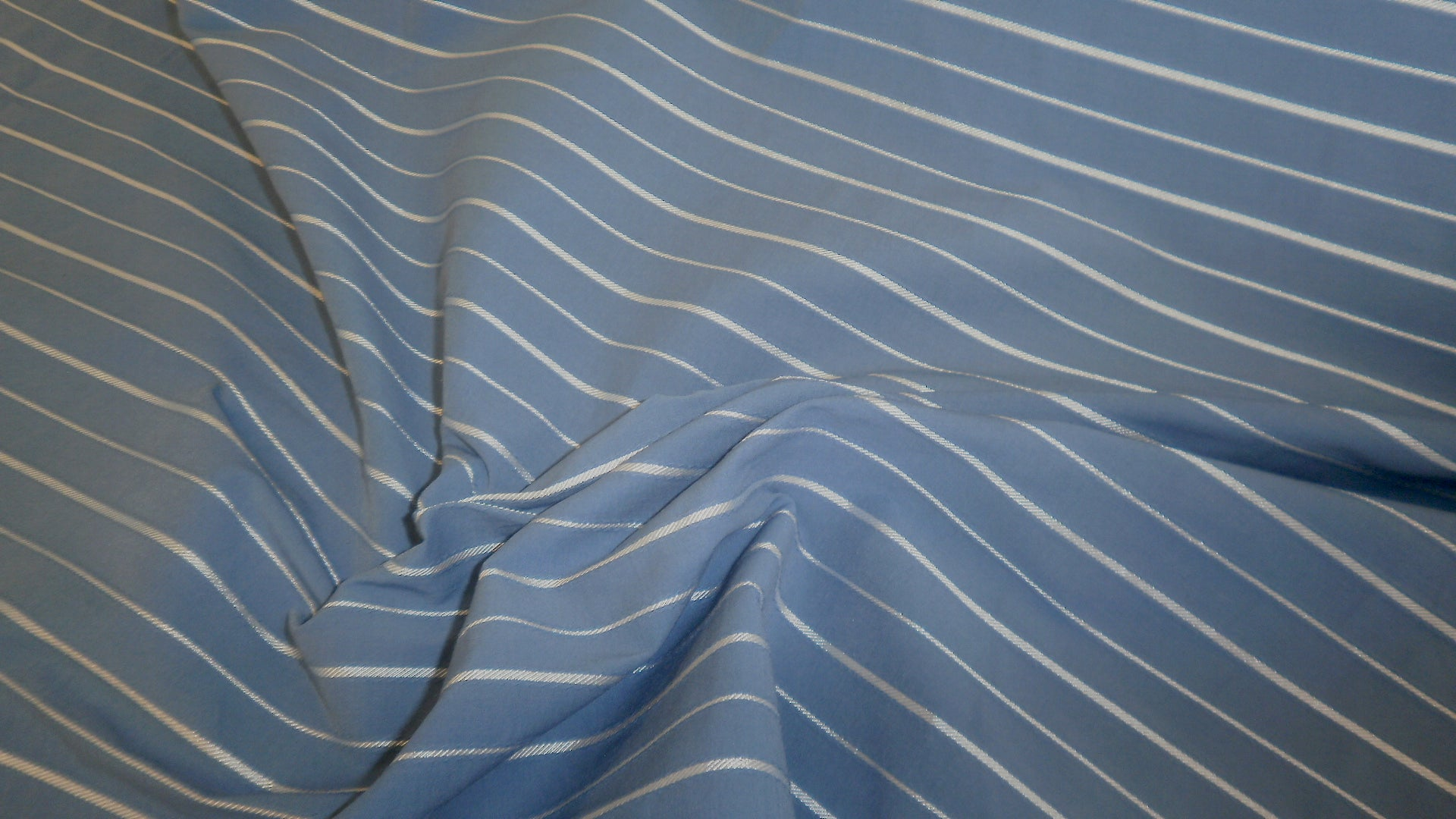 Italian Stripe Cotton Shirting, Blue & White