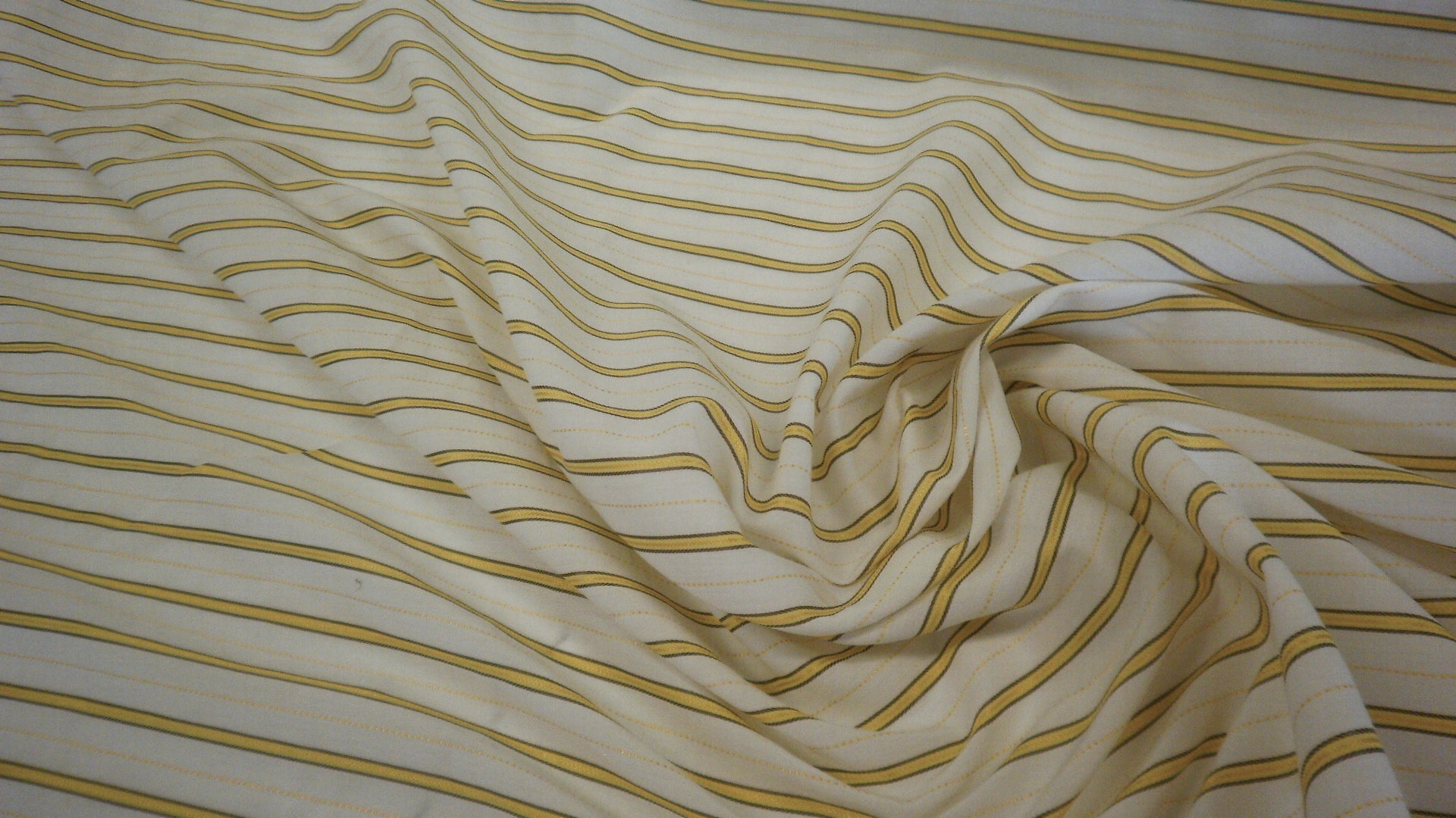 Italian Stripe Cotton Shirting, Yellow & White