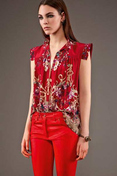 PANEL- Gilded Garden Crepe de Chine, Red