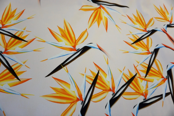 Birds of Paradise Flower Print on Stretch Drill