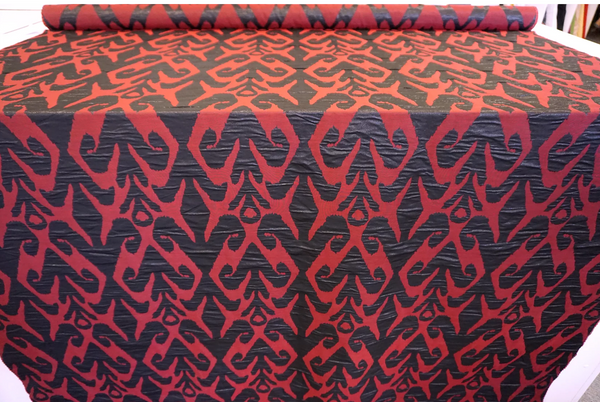 Red and Black Lurex Reversible Jacquard