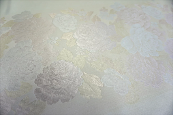 PANEL- Ivory & Cream Rose Wool Blend Jacquard