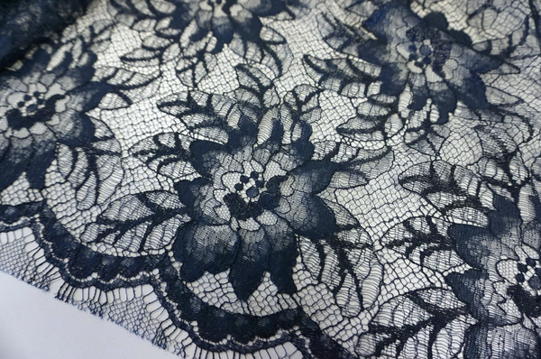 French Chantilly Lace, Navy