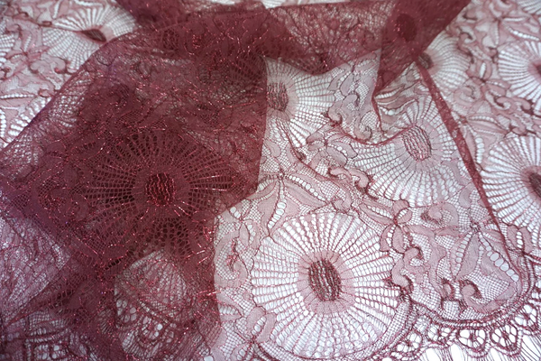 French Chantilly Lace, Burgundy Lamè