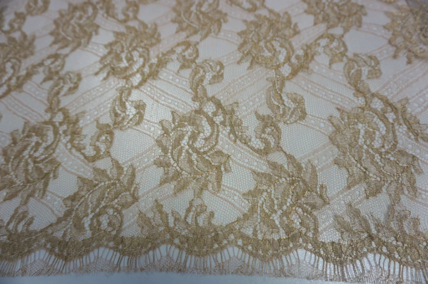 French Chantilly Lace, Gold on Beige