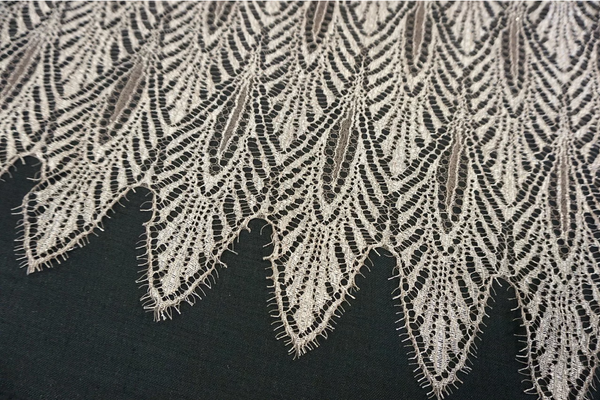 Vintage Art Deco French Lace, Old Silver