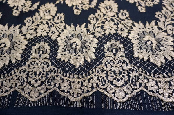 Gold on Black net, French Lace