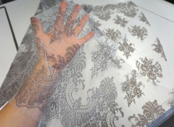 Vintage French Lace, Silver and Taupe